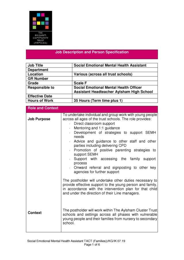 thumbnail of Job Description and Person Spec – SEMH Assistant 07.19