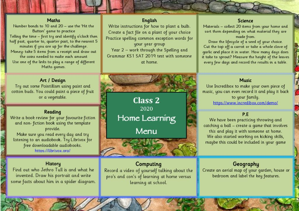 thumbnail of Class 2 Home learning Menu