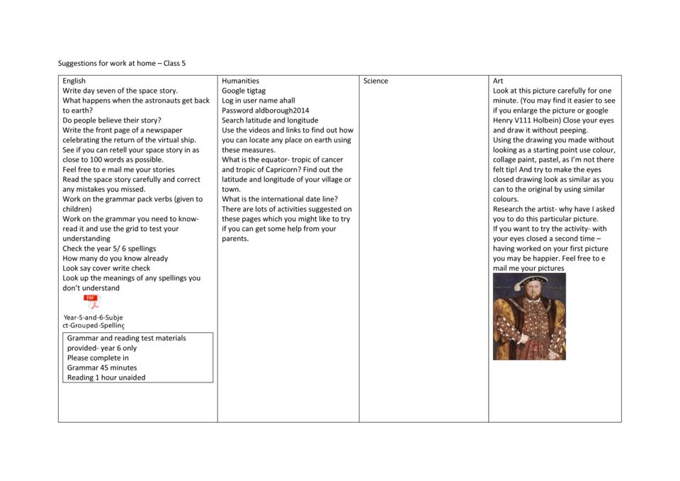 thumbnail of Class 5 Home learning menu