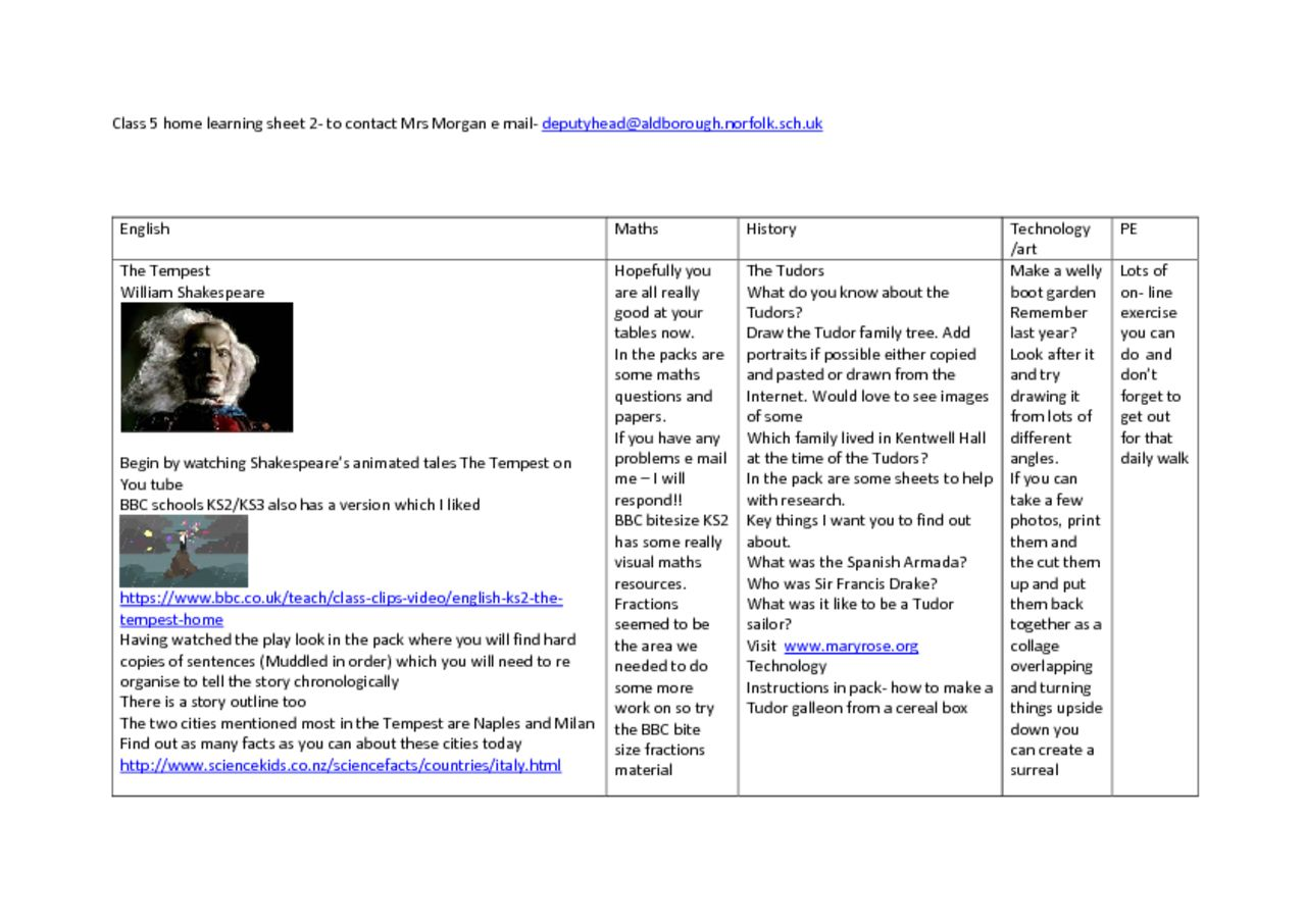 thumbnail of Class 5 home learning sheet 2