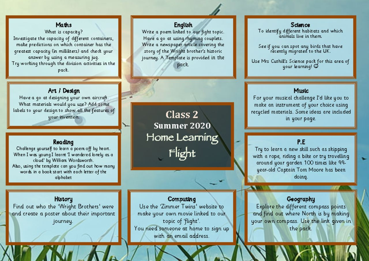 thumbnail of Home learning Menu 2020 2