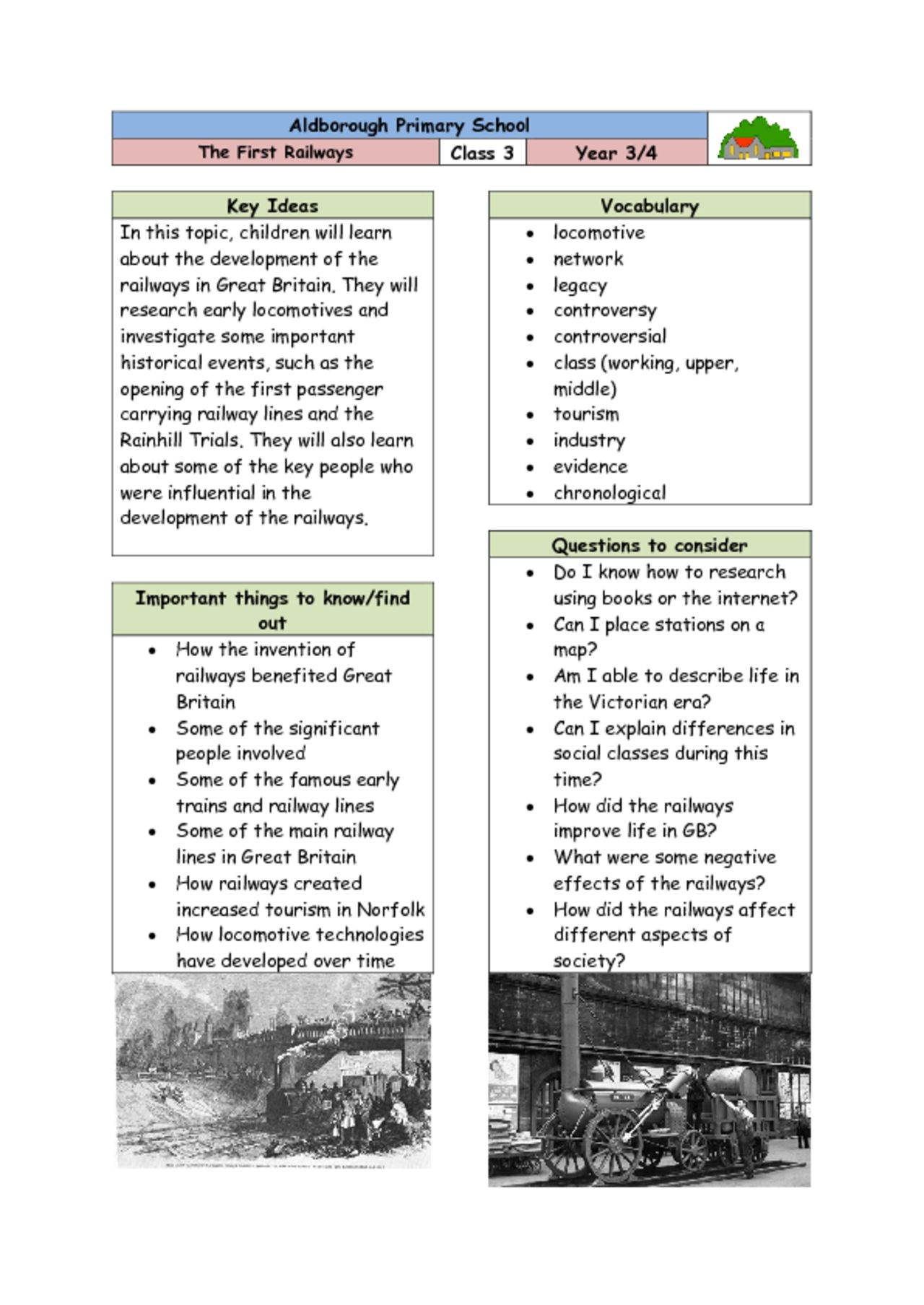 thumbnail of Knowledge Organiser – Class 3 The First Railways FINAL